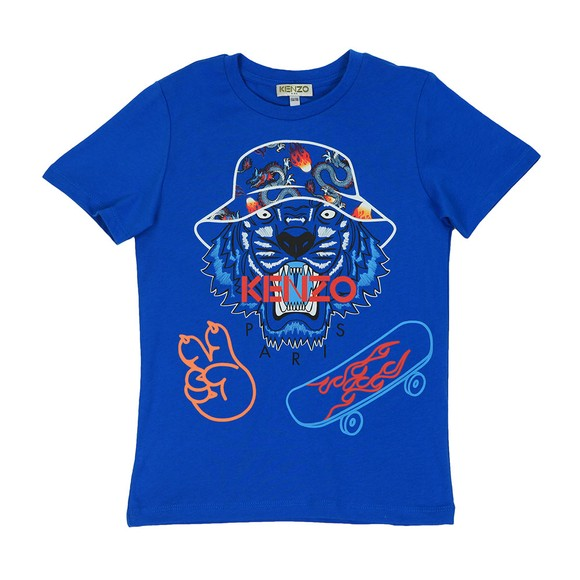 Kenzo Kids Boys Blue Dragon Hat Tiger T Shirt