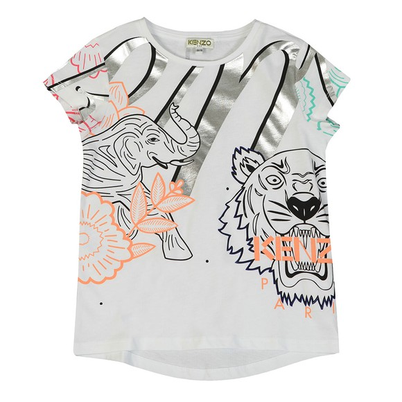 Kenzo Kids Girls White Janice Disco Jungle T Shirt