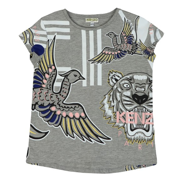 Kenzo Kids Girls Grey Jennifer Phoenix Celebration T Shirt
