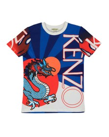 Kenzo Kids Boys Blue Jim Dragon Celebration T Shirt