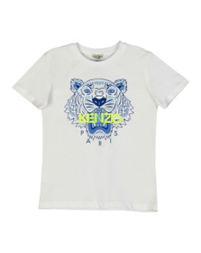 Kenzo Kids Boys White Boys Printed Tiger T Shirt