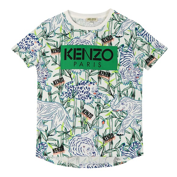 Kenzo Kids Boys White Jimmy Disco Jungle T Shirt