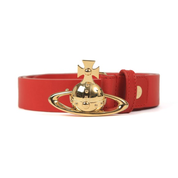Vivienne Westwood Mens Red Orb Buckle Leather Belt