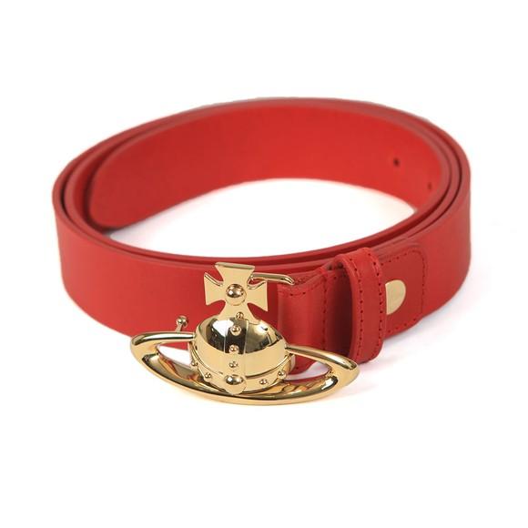 Vivienne Westwood Mens Red Orb Buckle Leather Belt
