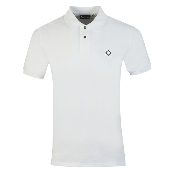 Ma.Strum Mens White Pique Polo Shirt