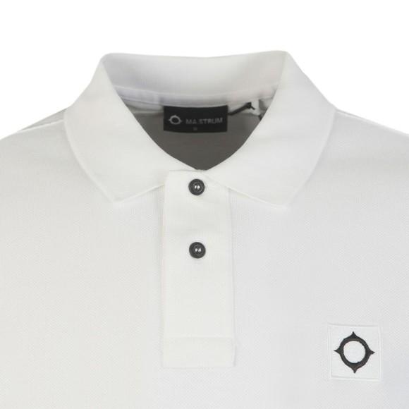 Ma.Strum Mens White Pique Polo Shirt