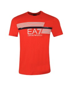 EA7 Emporio Armani Mens Orange Logo T-Shirt