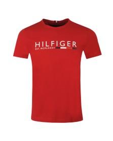 Tommy Hilfiger Mens Red Corp Hilfiger Stripe T-Shirt