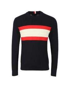 Tommy Hilfiger Mens Blue Ribbed Chest Stripe Jumper