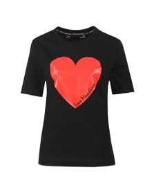 Love Moschino Womens Black Signature Heart T Shirt