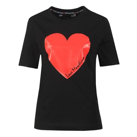 Love Moschino Womens Black Signature Heart T Shirt