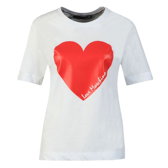 Love Moschino Womens White Signature Heart T Shirt