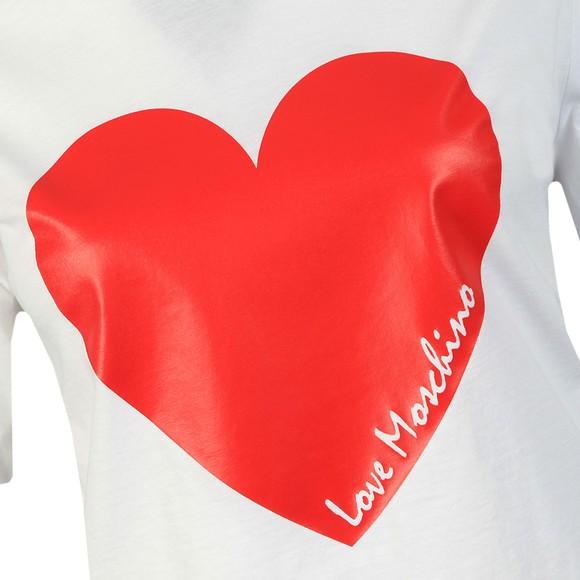 Love Moschino Womens White Signature Heart T Shirt main image