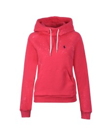 Polo Ralph Lauren Womens Pink Bleach Effect Overhead Hoody