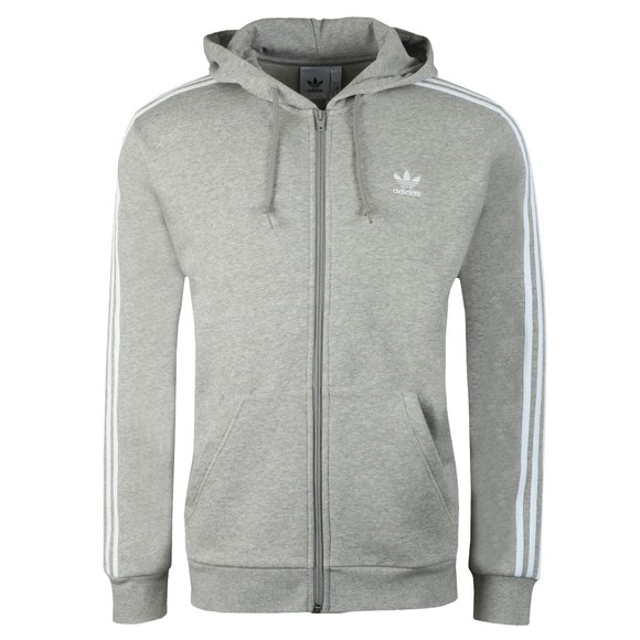 adidas Originals Mens Grey 3 Stripes Full Zip Hoodie