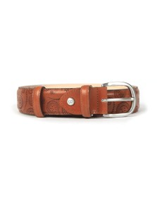 Barker Mens Brown Paisley Leather Belt