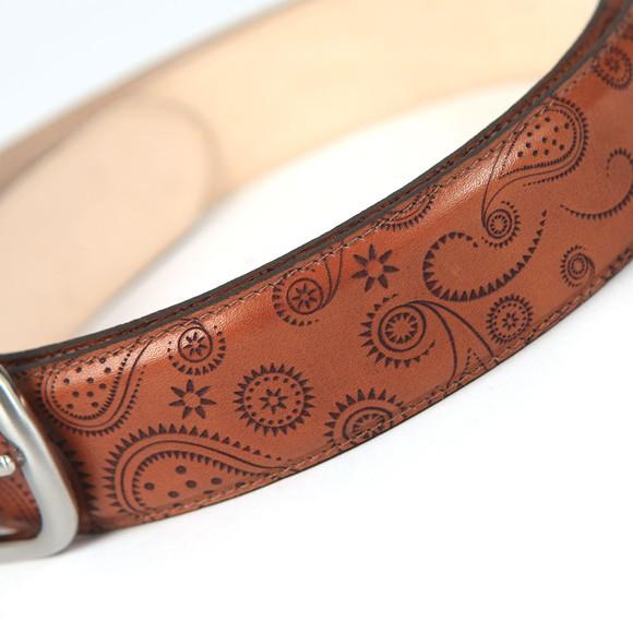 Barker Mens Brown Paisley Leather Belt