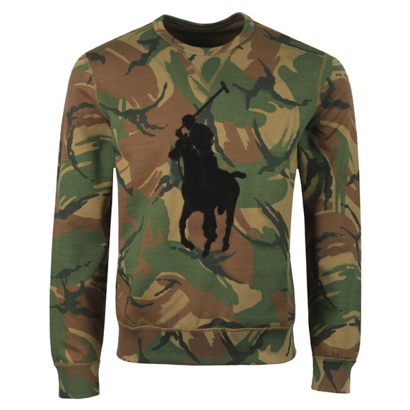 Polo Ralph Lauren Mens Green Tonal Terry Sweatshirt