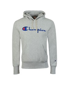 Champion Reverse Weave Mens Grey Script Logo Overhead Hoody