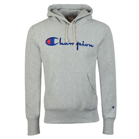 Champion Reverse Weave Mens Grey Script Logo Overhead Hoody main image