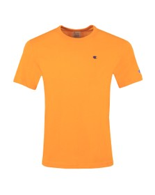 Champion Reverse Weave Mens Orange Small Logo Back Script T Shirt