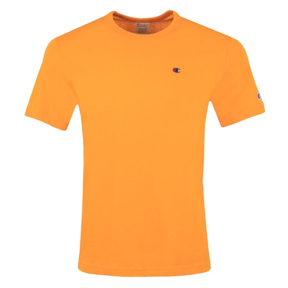 Champion Reverse Weave Mens Orange Small Logo Back Script T Shirt