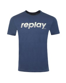 Replay Mens Blue Large Centre Logo T-Shirt