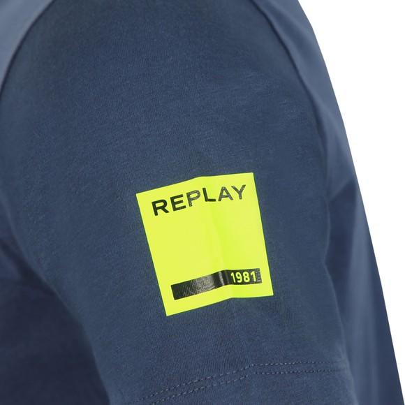 Replay Mens Blue Large Centre Logo T-Shirt main image