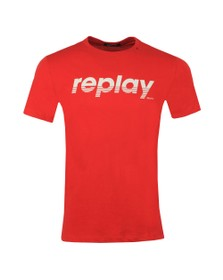Replay Mens Red Large Centre Logo T-Shirt