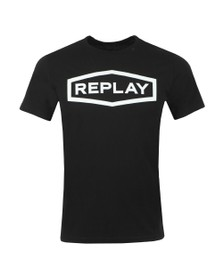 Replay Mens Black Raised Centre Logo T-Shirt