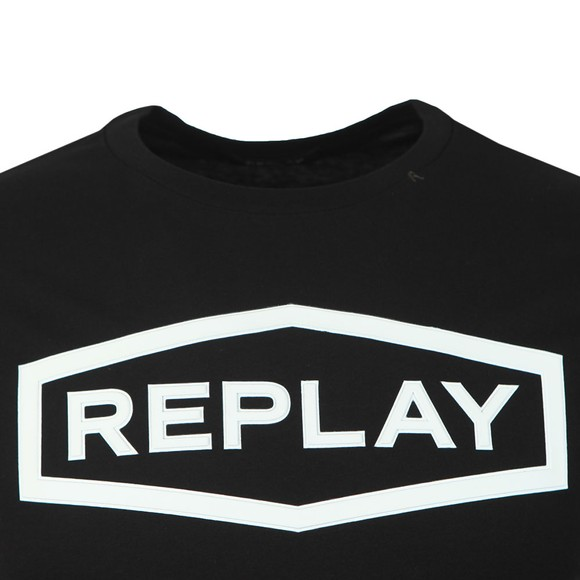 Replay Mens Black Raised Centre Logo T-Shirt main image