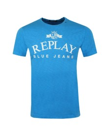 Replay Mens Blue Iconic Logo T-Shirt