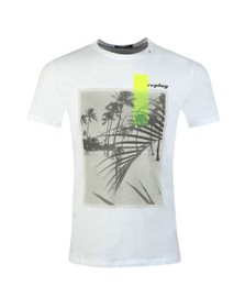 Replay Mens White Graphic Beach Logo T-Shirt