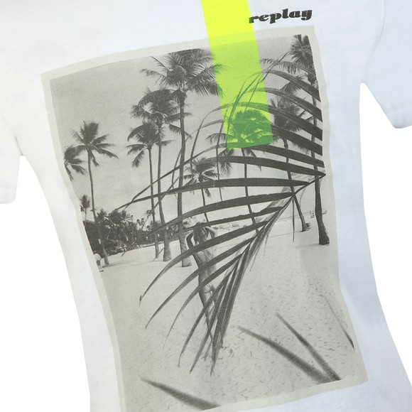 Replay Mens White Graphic Beach Logo T-Shirt main image