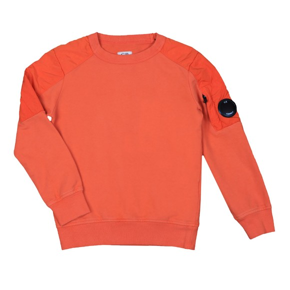 C.P. Company Undersixteen Boys Orange Mixed Fabric Arm Lens Sweatshirt