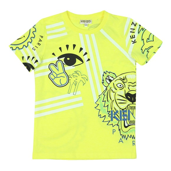 Kenzo Kids Boys Yellow Cali Party Crew Neck T-Shirt
