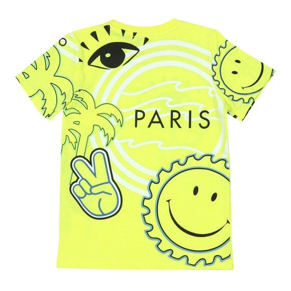 Kenzo Kids Boys Yellow Cali Party Crew Neck T-Shirt main image