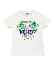 Kenzo Kids Boys White Elephant Logo T-Shirt
