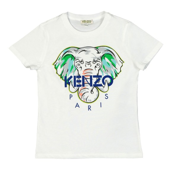 Kenzo Kids Boys White Elephant Logo T-Shirt main image