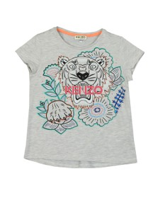 Kenzo Kids Girls Grey Large Iconic Tiger Logo T-Shirt