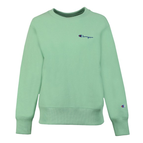 Champion Reverse Weave Womens Green Small Script Logo Sweatshirt