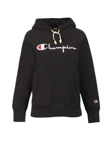 Champion Reverse Weave Womens Black Large Logo Hooded Sweatshirt