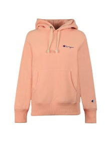 Champion Reverse Weave Womens Orange Small Script Logo Overhead Hoody