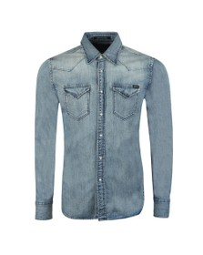 Replay Mens Blue Twin Pocket Denim Shirt