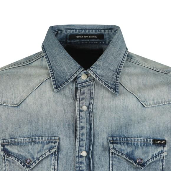 Replay Mens Blue Twin Pocket Denim Shirt main image