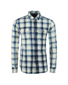 Replay Mens Blue Twin Pocket Check Shirt