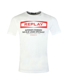 Replay Mens White Superior Standard Crew T-Shirt