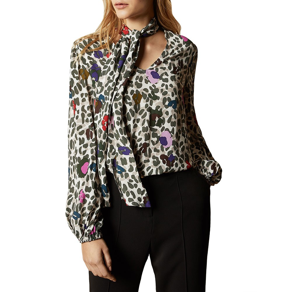 Charia Wilderness Tie Neck Blouse main image