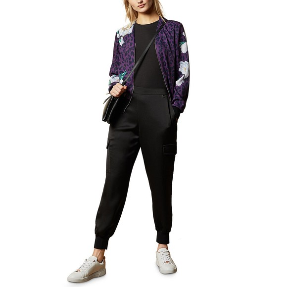 Ted Baker Womens Black Willow Wilderness Zip Bomber Cardigan main image