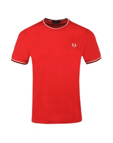 Fred Perry Mens Red Twin Tipped T-shirt